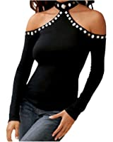 XWDA Women's Halter Beads Off Shoulder Blouse Sexy Top Tee