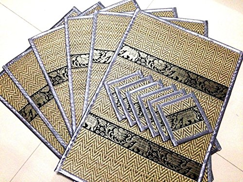 elephant-reed-silk-placemat-coaster-thai-handmade-table-mat-dining-6-pcs-color-gray