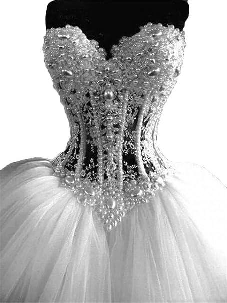 de2168283 Hielo Belleza de color perla clásico corsé tul de novia boda vestidos de novia  fiesta,