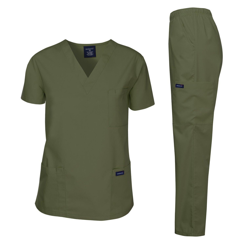 Dagacci Scrubs Medical Uniform Men Scrubs Set Medical Scrubs Top and Pants (XX-Large, Oliver Green)