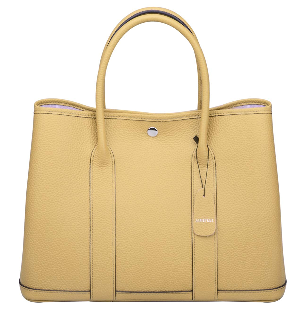 Ainifeel Women s Genuine Leather Tote Bag Top Handle Handbags (Apricot)   Handbags  Amazon.com 413da35b0ddbb