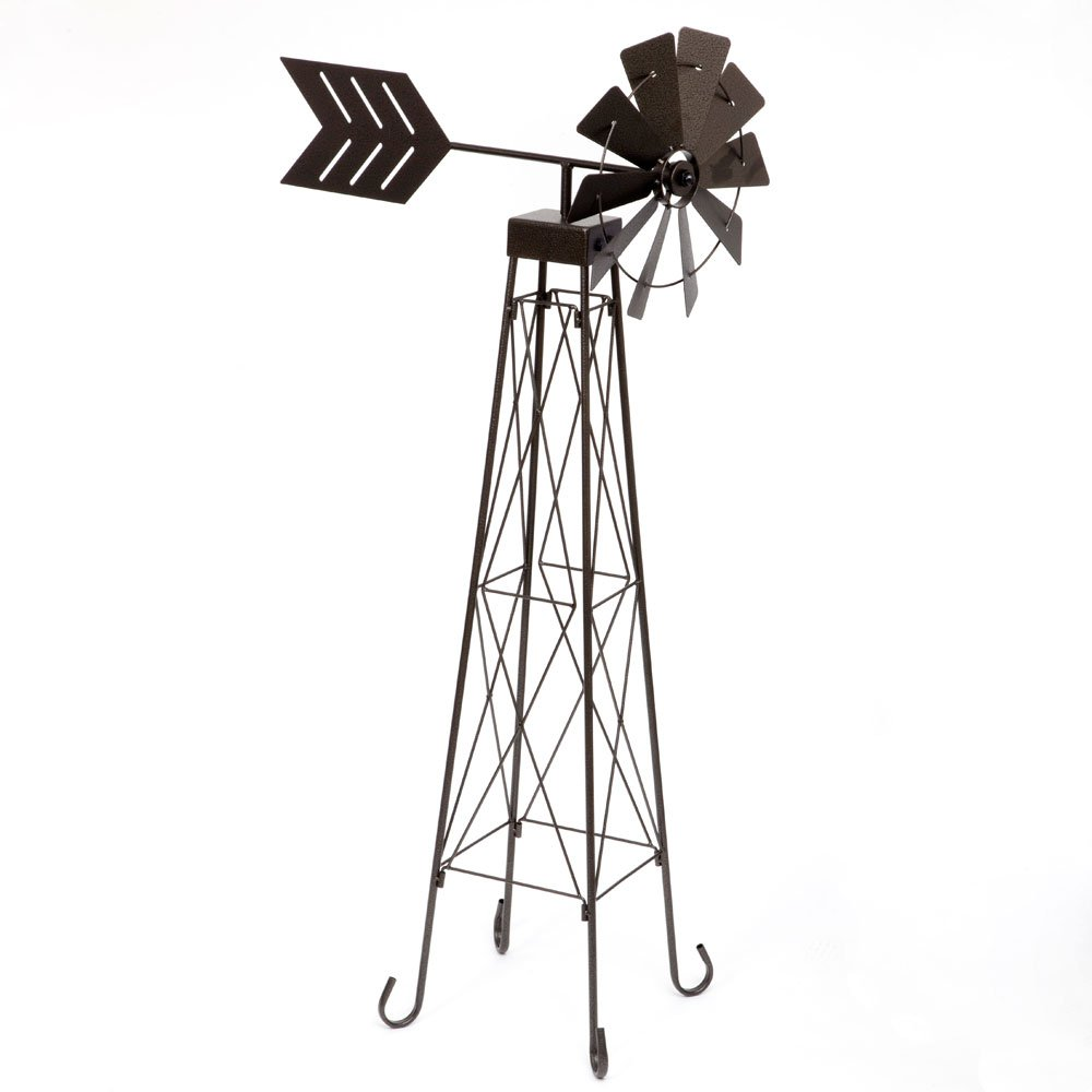 Bits and Pieces - 4' Windmill Wind Spinner - 48'' Weather-Resistant Obelisk made of Powder-Coated Steel - Perfect Outdoor Lawn and Garden Décor