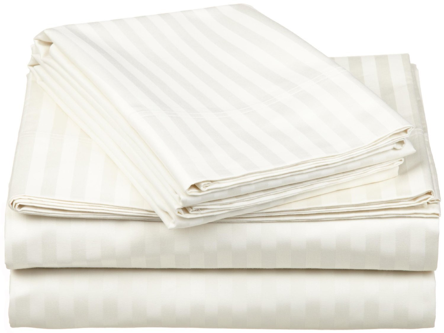 1000 Thread Count - Genuine Extra Long Staple (ELS) Premium Combed Cotton Bed Sheet Set [Top / Flat + Deep Pocket Bottom / Fitted + Pillow cases] , King, Stripe Ivory