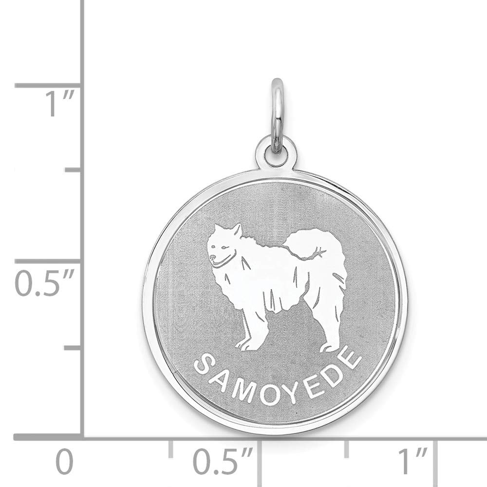 Solid 925 Sterling Silver Siberian Husky Disc Pendant Charm 19mm x 26mm