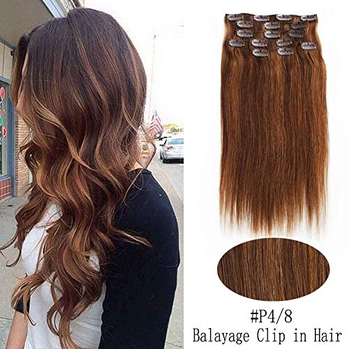 SHOWJARLLY Ombre Balayage Clip in Real Hair Extensions Multi Colored P4/8 Thick Full Head Clip in Highlighted Virgin Remy Human Hair Extensions for Women and Girls (18inch,7pcs/90g)