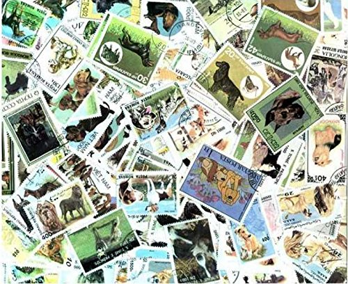Dog Stamp Collection - Dogs on Stamps Collection - 100 Different Stamps