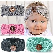 Ranipobo Pack of 4 Baby Girl Knit Crochet Turban Warm Headbands Bowknot Band