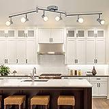 DLLT Modern LED Track Lighting Kit-6 Lights Adjustable Decorative Track Light Fixture, 6 Way Flush Mount Ceiling or Wall Spot