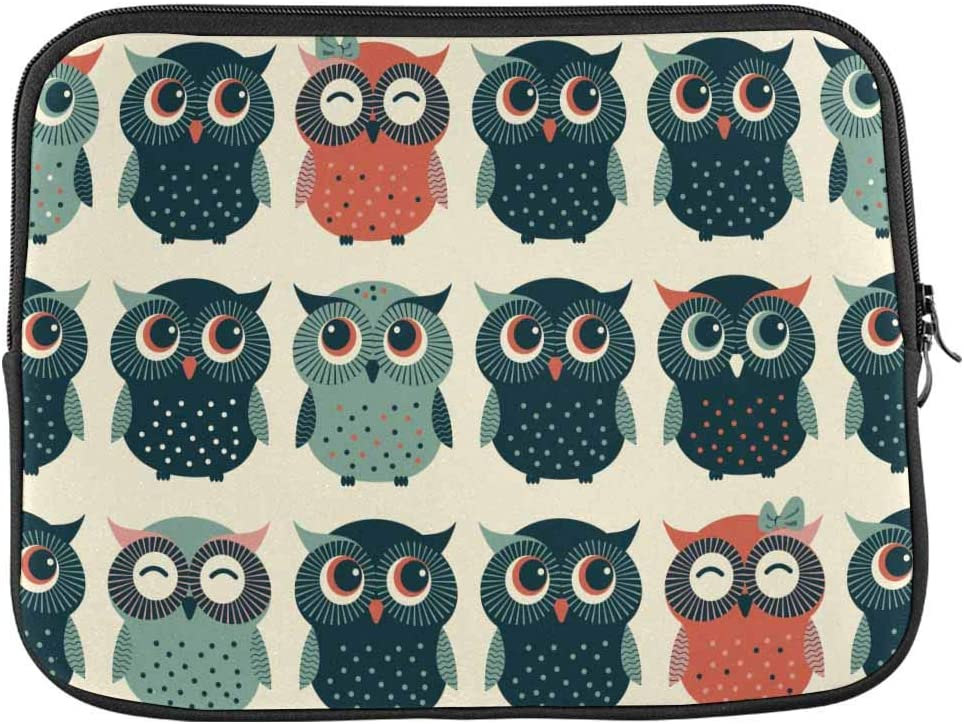 Cute Colorful Owls Laptop Sleeve Case 15 15.6 Inch Briefcase Cover Protective Notebook Laptop Bag