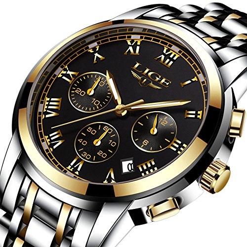 Watches Men Luxury Chronograph Men Sports Watch Waterproof Steel Band Quartz Analog Wrist Watch for Men