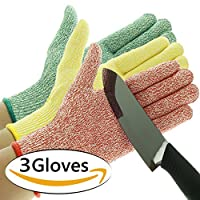 3 Pack TruChef Cut Resistant Gloves - Maximum Level 5 Protection, Food Grade, 3 Fun Colors To Prevent Cross Contamination, Fits Both Hands, Available In 4 Sizes