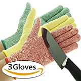 3 Pack TruChef Cut Resistant Gloves - Maximum Level 5 Protection, Food ...