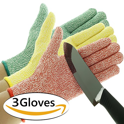 3 Pack TruChef Cut Resistant Gloves - Maximum Level 5 Protection, Food Grade, 3 Fun Colors To Prevent Cross Contamination, Fits Both Hands, Size Medium