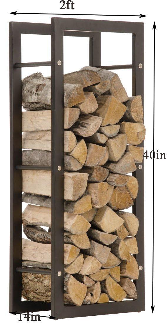 WGX Indoor/Outdoor Decorative Firewood Storage Log Rack Holder (2-Feet Log Rack) by WGX Design For You