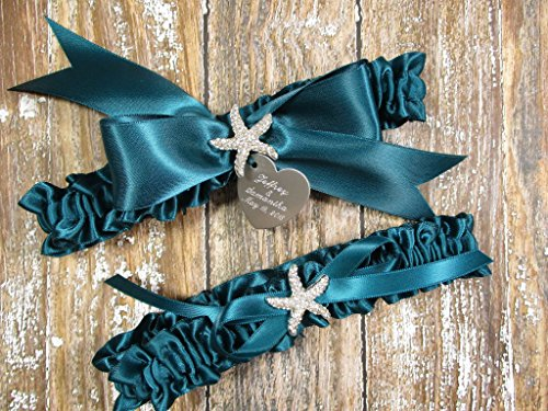 Teal Wedding Garter Set with a Rhinestone Starfish and Personalized Engraving ()