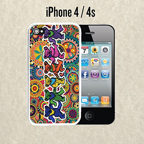 iPhone Case Grateful Dead and Dancing Bears for iPhone 4 / 4s Plastic White (Ships from CA)