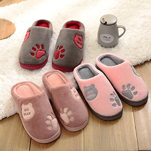 CWAIXXZZ pantofole morbide Pantofole di cotone spessa femmina inverno Cartoon carino coppie soggiorno nella calda felpa pantofole calzature donna donne su una ,44-45 Codice (43-44), la scheda che reca