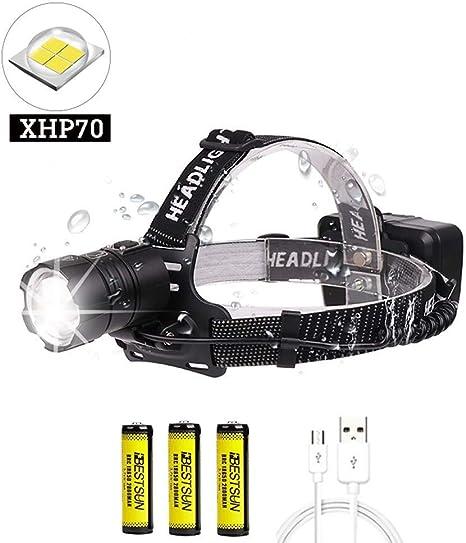 LUXJUMPER Linterna Frontal LED Recargable, XHP70 10000 Lúmenes ...