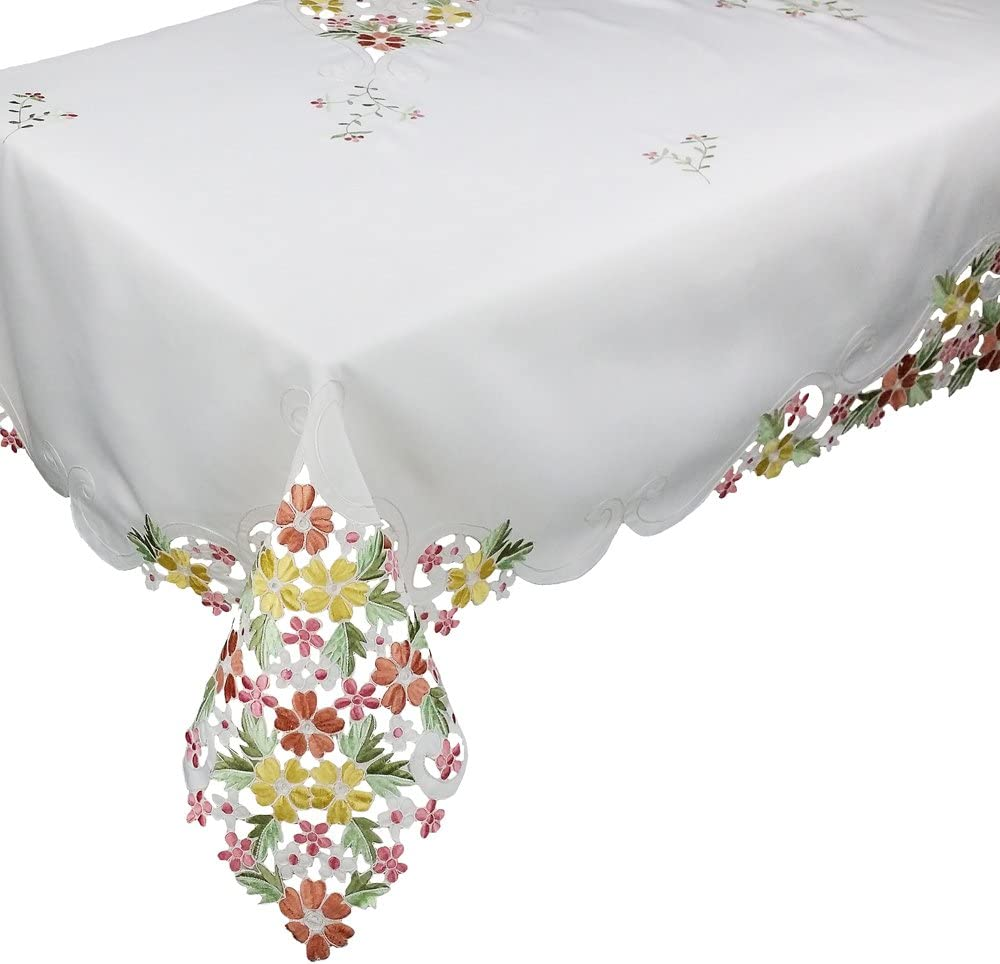 Xia Home Fashions Fancy Flowers Embroidered Cutwork Spring Tablecloth, 90 by 90-Inch, Pink