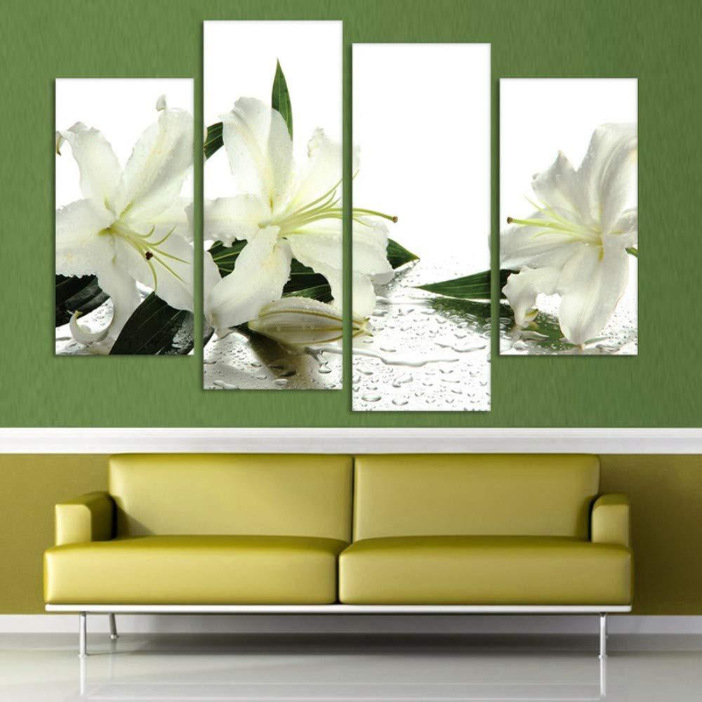With Frame 20x40 20x60cm ZUMOOY Cuadro de Pintura Póster 4 Piezas Juego Lirios blancoos Flores Parojo Modular Lienzo Marco Arte HD, con Marco, 20x40 20x60cm
