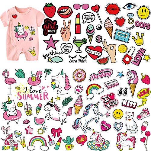 ((5 Sheets) Kids Iron On Patches, Akwox Unicorn Holiday Styles Love Kiss Heat Transfer Stickers with Colorful Pattern Appliques Design Decoration Washable for Clothing,T-Shirt,Jeans,Bags)