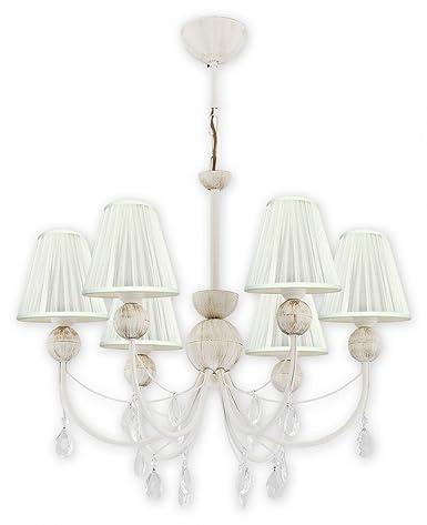 Lampadario Stile Shabby Chic.Lampada Da Soffitto Con Paralume In Tessuto In Bianco