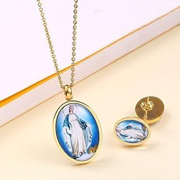Burenqi Virgen María Conjuntos de joyería de Plata y Oro de ...