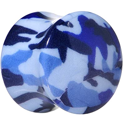 "BodyCandy Acrílico Azul Tomar Funda Chica Camuflage Dilatador (1 Pieza) 9/16"""