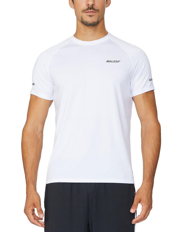 Baleaf Men's Quick Dry Short Sleeve T-Shirt Running Fitness Shirts White Size M by Baleaf (Image #1)