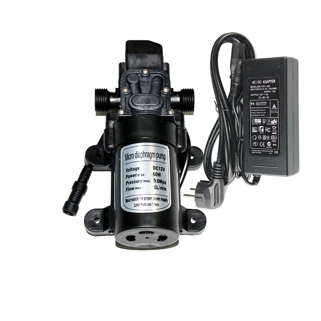 Hylaea 12V 60W 5L/min Self Priming Fine Mist Spray Micro Diaphragm Pump, Fresh Water Pressure Diaphragm Pump, Hose Clamps Self Priming Sprayer Pump, Industrial Pump with Power Supply
