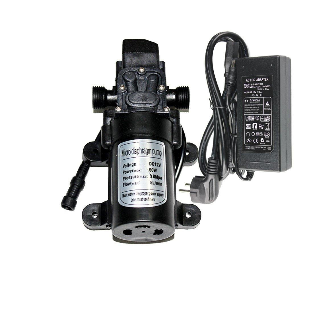 Hylaea 12V 60W 5L/min Self Priming Fine Mist Spray Micro Fresh Water Pressure Diaphragm Pump with 12V DC High Pressure for RV Camper Marine Boat Lawn