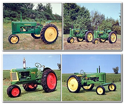 (Vintage Oliver 77 Row Crop John Deere Farm Tractor 8x10 Four Set Wall Decor Picture Art Print Posters)