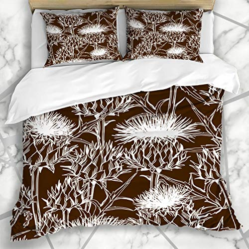 - Ahawoso Duvet Cover Sets Queen/Full 90x90 Onopordum Brown Bloom Pattern Acanthium Scottish Spike Thistle Nature Blooming Blossom Botanical Microfiber Bedding with 2 Pillow Shams