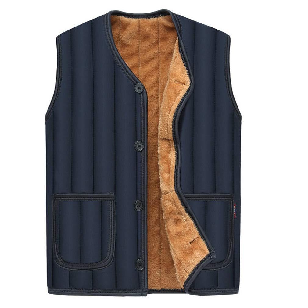 MEI Guihua Men Sleeveless Winter Fleece Waistcoat Striped Warm Vests