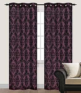 Amazon Com Pair Of Marcy Magenta Flocking Window Curtain