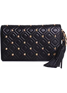 31a9db856 Tory Burch Fleming Leather Stud Quilted Tassel Flat Wallet Crossbody in  Black