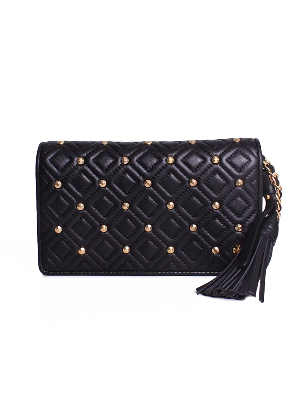 Black Tory Burch Fleming Stud Flat Wallet CrossBody