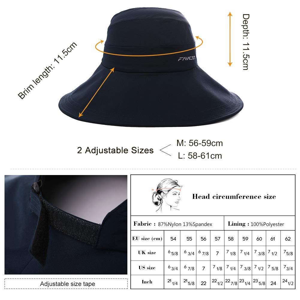 Womens UPF50 Cotton Packable Sun Hats w//Chin Cord Wide Brim Stylish 54-60CM