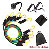 Fitness Equipment - 11/17Pcs/Set Latex Resistance Bands Set Yoga Exercise Fitness Band Rubber Loop Tube Bands Gym Door Anchor Ankle Straps with Bag Kit