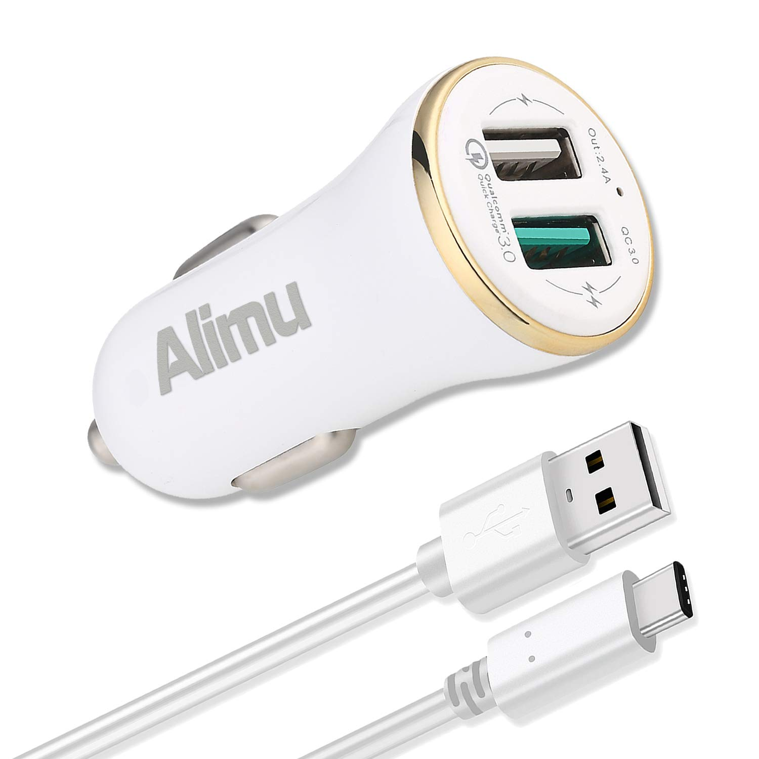 Alimu Dual USB Rapid Fast Car Charger 30W and USB C Cable Works with LG G5,G6,V20,V30,HTC 10 U11,Samsung Galaxy S8 S9 Plus,Note 8,iPad,iPhone and More 4326583884 Quick Charge 3.0 USB Type C Car Charger