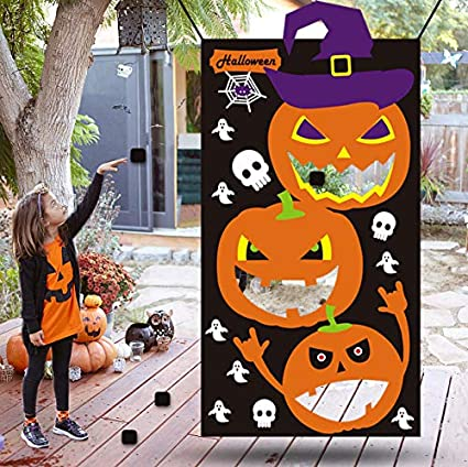 kids halloween games party decorations halloween pumpkin party decorations for kids bean bag toss game black