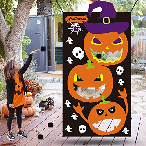 "Kids Halloween Games Party Decorations Halloween Pumpkin Party Decorations Kids Bean Bag Toss Game Black (30"" X 54"") ()"