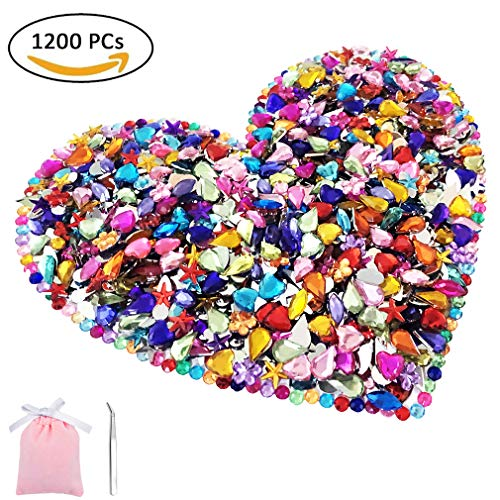 Bright Silver 1200 Pcs Gems Acrylic Flatback Rhinestones Gemstone Embellishments, 6 Shapes with Tweezers and Bag ()