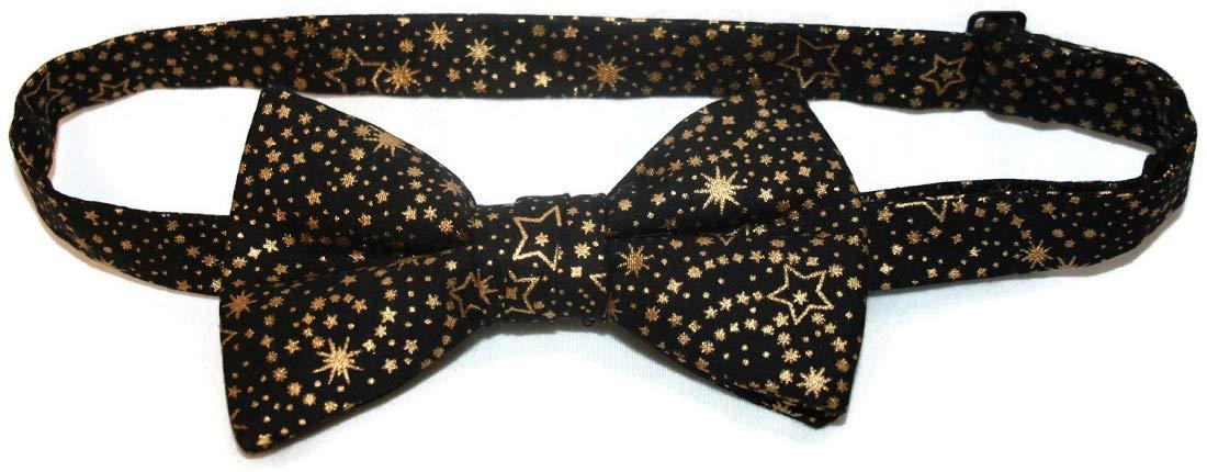 Holiday Bow Ties Boys Pretied Bow Tie with Metallic Stars Boys, Black Gold (Boys)