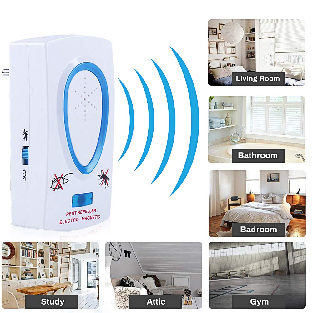 Rodent Repellent Flies Cockroaches PINPOXE Ultrasonic Mouse and Rat Repellent Spider 2 Pieces Anti-Shell Anti Spider Fleas Ultrasonic Mosquito Repellent Ants Mosquitoes