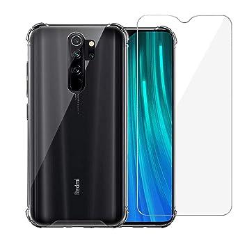 Annhao Funda Xiaomi Redmi Note 8 Pro + Vidrio Templado, Carcasa Silicona Transparente Protector TPU Airbag Anti arañazos Reforzar Esquinas Case ...