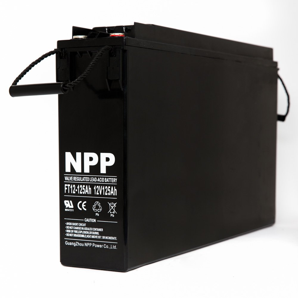 NPP 12V 125 Amp FT12 125Ah Front Access Telecom Deep Cycle AGM Battery With Button Style Terminals