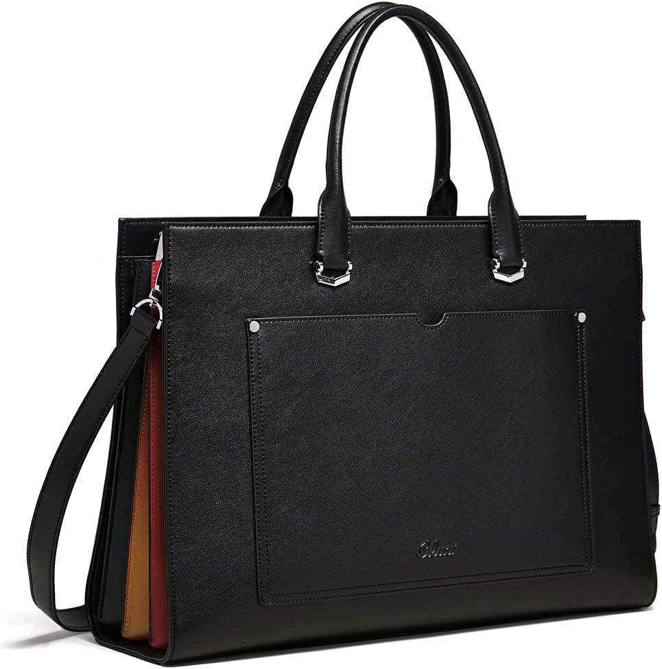 CLUCI Briefcase for Women Leather Slim 15.6 Inch Laptop Business Shoulder Bag Black