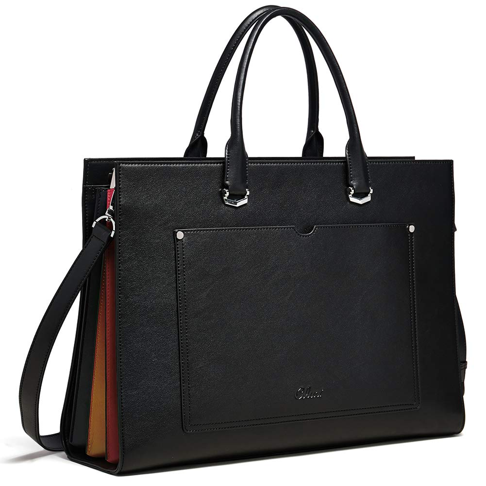 CLUCI Briefcase for Women Leather Slim 15.6 Inch Laptop Business Shoulder Bag Black by CLUCI