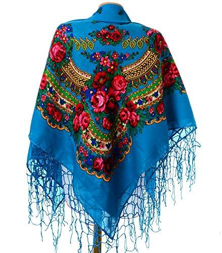 [Shawl Fashion Ukrainian Fringed Wrap Polish Scarf Russian Babushka for Women Traditional Folk Hustka Ethnic Platok for Ladies Evening Dress Wedding Accessory. 59] (Traditional Russian Outfits)